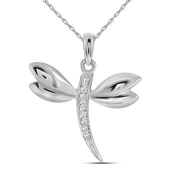 14kt White Gold Womens Round Diamond Butterfly Bug Winged Pendant .03 Cttw