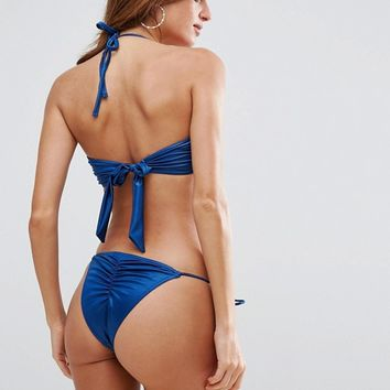 ASOS Mix and Match Glam Gathered Tie Side Brazilian Bikini Bottom at asos.com