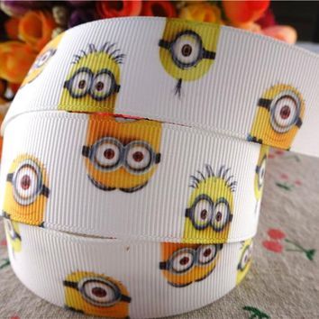 "17010106,New arrival 1"" (25mm) 10 yards/lot minions printed grosgrain ribbons cartoon ribbon DIY hair bows"