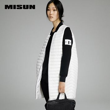 MISUN Brand 2017 spring new women's  thin  LIGHT long down coat loose female knitted sleeve patchwork  female donw jackets