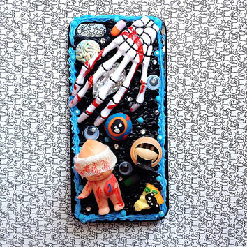 handmade horror goth cult bloody cream phone case iphone5/5s polymer clay deco