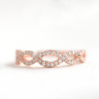 Rose Gold Wedding Band - Art Deco Wedding Band - Criss Cross Band - Rose Gold Half Eternity Band - Rose Gold Stacking Ring -A39