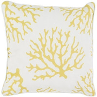 Outdoor Yellow Coral Pattern Pillow