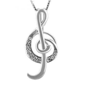 925 Sterling Silver Elegant Music Note Pearl Cage Pendant