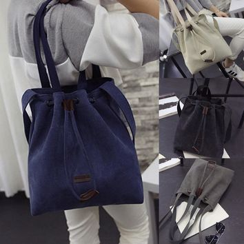 2018 New Women Canvas Shoulder Bags Drawstring Handbag Bucket Tote Messenger Bags Purse Satchel Fashion Bags for Women