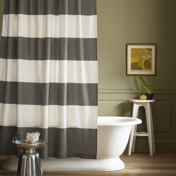 Stripe Shower Curtain - Feather Gray