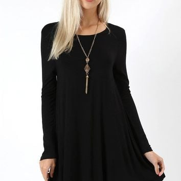 Women's Black Swing Dress Long Sleeve Tunic: S/M/L