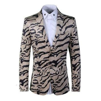 ICIKON3 fashion stripe print men blazerluxury brand wedding party single breasted suits jacketsMens velvet blazers costume homme
