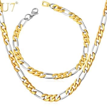 U7 Two Tone Gold Color Jewelry Set Stainless Steel Figaro Chain Bracelet Necklace Set Men Jewelry S637