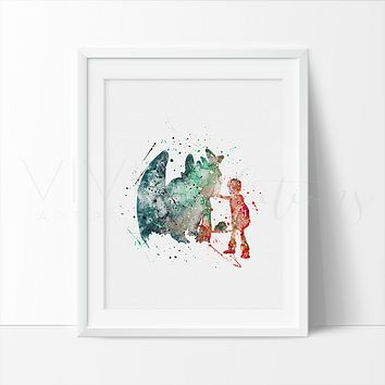 Hiccup and Night Fury Watercolor Art Print