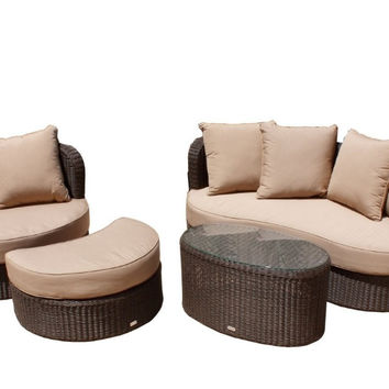 2017 comfortable curved rattan handmake woven wicker lounge sofa set