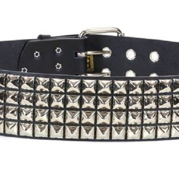 "4-Row Silver Pyramid Studs Black Leather Belt 2-1/4"" Wide"