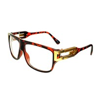 Old School Celebrity Style Clear Lens Flat Top Aviator Glasses Frames A1170