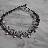 Tattoo choker with pink beads from Shop Biohazard