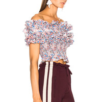 Philosophy di Lorenzo Serafini Off Shoulder Crop Top in White Multi | FWRD