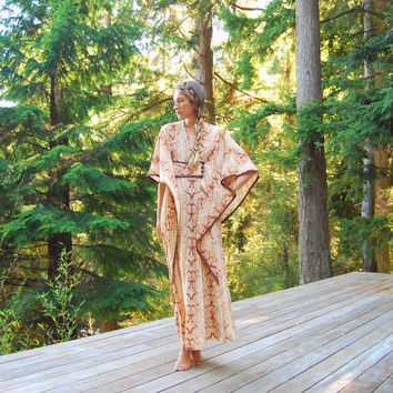 70s Caftan Dress, Tan Snakeskin Hippie Maxi Dress, Desert Vacation Lounge Dress, Boho Vintage Kimono Dress, Toggle Button Wrap Tent Dress