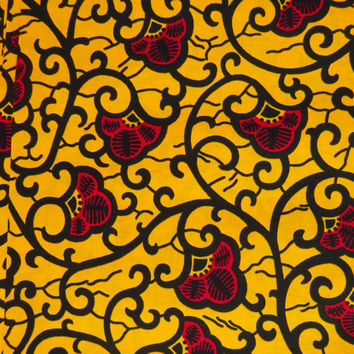 African fabric by the Yard Ankara fabric by the yard African Supplies African print fabric wax print fabric cotton dutch wax yellow red
