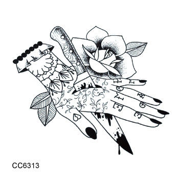 CC6313 6X6cm Little Vintage Old School Style Kill my Hand Temporary Tattoo Sticker Body Art Water Transfer Fake Taty