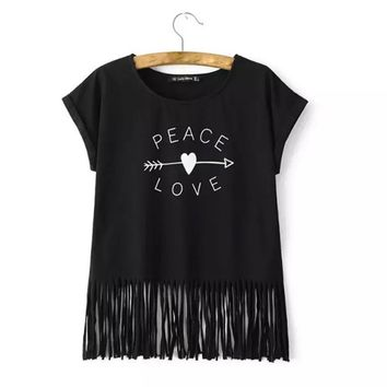 Women arrow heart print fringe T shirt PEACE & LOVE letters tops sleeveless tassels shirts casual