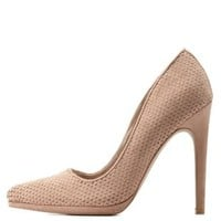Taupe Qupid Snake-Textured Pointed Toe Pumps