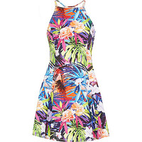 River Island Girls purple tropical fit and flare dress
