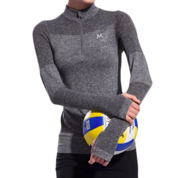 Popular Women's 1/4 Zipper Long Sleeve Pro Dri-fit Compression Shirts Breathable Quick Dry Flexible for Yoga Fitness Run Jogging