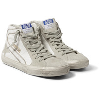 Golden Goose Deluxe Brand - Distressed Leather and Suede High-Top Sneakers | MR PORTER
