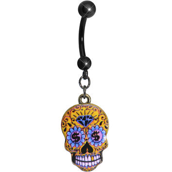 Bling is the Thing Sugar Skull Dangle Belly Ring