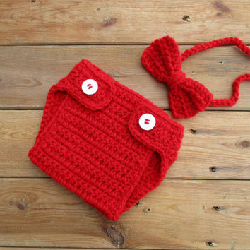 Valentine Cherry Red Diaper Cover And Bow Tie Newborn Photo Prop