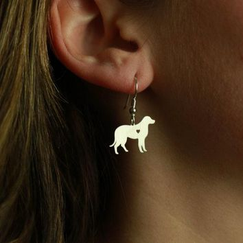 Min 1 Pair Handmade Jewelry Labrador Earrings Dog Studs Silver Dog Charms Dangle Charm Memorial Mothers Day Gift For Women Lover