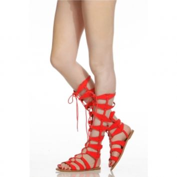 Orange Faux Nubuck Multi Strap Lace Up Gladiator Sandals @ Cicihot Sandals Shoes online store sale:Sandals,Thong Sandals,Women's Sandals,Dress Sandals,Summer Shoes,Spring Shoes,Wooden Sandal,Ladies Sandals,Girls Sandals,Evening Dress Shoes