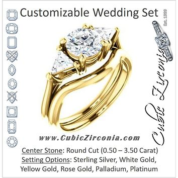 CZ Wedding Set, featuring The Prisma engagement ring (Classic Three-Stone Triangle Accent and Round Cut center)