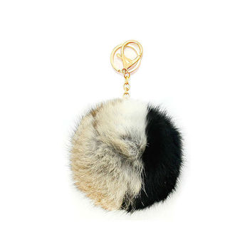 Beige, Black & Gold Two Tone Rabbit Fur Pom Pom Key Chain / Bag Charm Keychain, gift