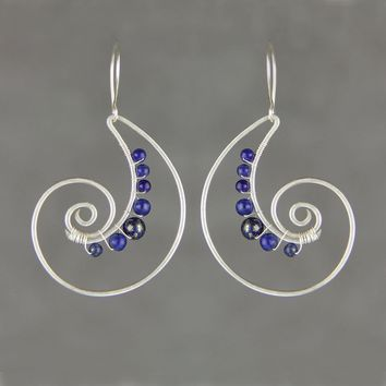 Silver wiring lapis shell scroll hoop Rococo earring handmade US free shipping Anni Designs