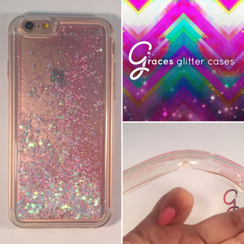TPU Soft Silicone Pink iridescent Heart Glitter Liquid moving glitter iPhone 6+ 6 plus, 6, 6s, 5, 5S. SE quicksand sand glitter iphone case