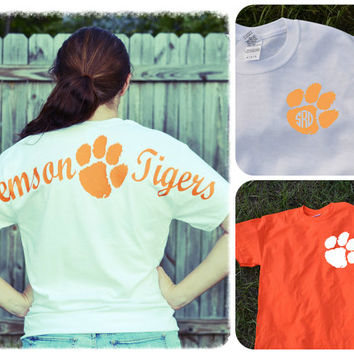 Clemson Spirit Tee Shirt ~ Long or Short sleeve ~ Orange or White~ Tigers~ Monogram or not