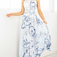 Run Alone maxi dress in blue floral Produced By SHOWPO
