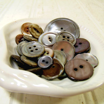 Vintage Variety of Antique Abalone Buttons Collection - Sea Shell Buttons for Repurposing Upscaling Upcycling - 33 Buttons for Sewing Crafts