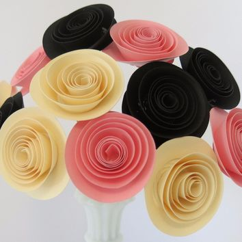 "Pink black and ivory paper flowers One dozen pretty 1.5"" roses on stems for birthday parties and baby showers, home decor"