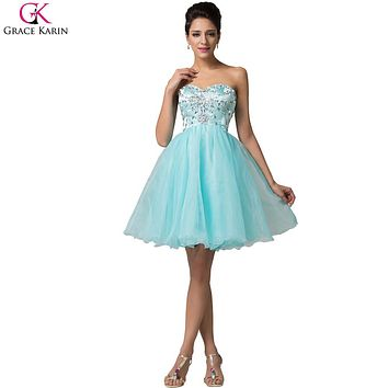 Grace Karin Cocktail Dresses 2017 New Arrival Cute Sweetheart Organza Beaded Strapless Short Formal Dress Party Ball Gowns Tutu