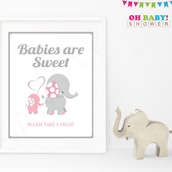 Babies are Sweet Please Take a Treat Girl Baby Shower Sign Pink and Gray Elephant Pink Elephant Baby Shower Decorations Printable EL0005-lp
