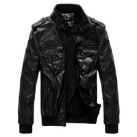 winter jacket men's leather clothes high quality pu leather jacket men leather coat with long sleeves 2014 new Free shipping