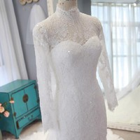 Plus Size Lace Mermaid Wedding Dresses 2017 Vintage High Neck Long Sleeves Muslim Wedding Dresses Online Shop China RW306
