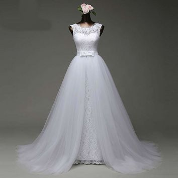 custom made mermaid  wedding dress with tulle detachable train