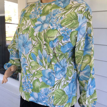 Vintage Button Back Floral Blouse 60s Nan Dorsey White Blue Green L M