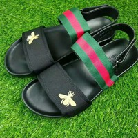 GUCCI Bee embroidery stripe man Sandal Slipper Shoes H-CSXYQGCZDL-CY