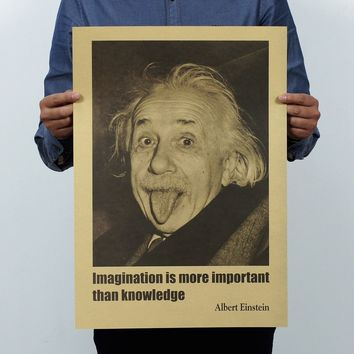 Albert Einstein Poster Vintage Retro Paper Imagination Is More Important Than Knowledge 51x35 Cm