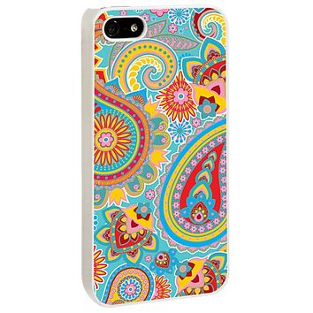 Aqua Blue and Sunshine Paisley for the Skinzy White iPhone 5/5S Case V3 by skinzy.com