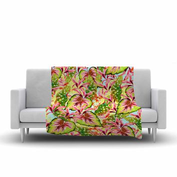 "Mmartabc ""Exotic Botanical Pattern"" Yellow Pink Illustration Fleece Throw Blanket"