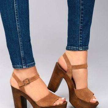 Steve Madden Lulla Chestnut Suede Leather Platform Sandals